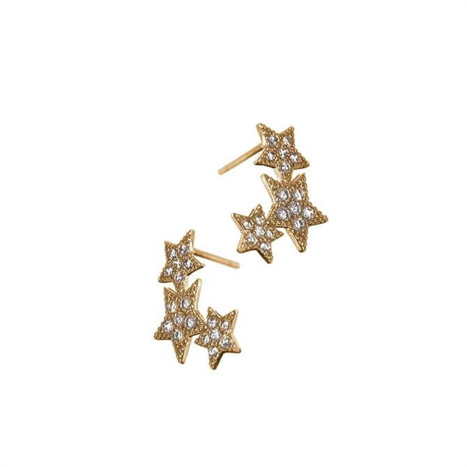 Hot Tomato Triptych Gold Stars Stud Earrings