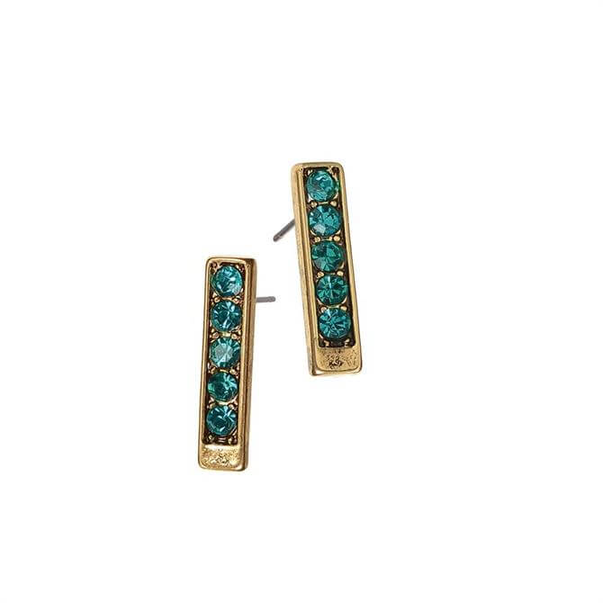 Hot Tomato Gold with Teal Crystals Totem Stud Earrings