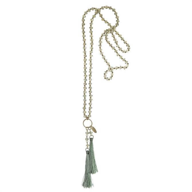 Hot Tomato Green Facetted Glass Beads & Tassel Necklace