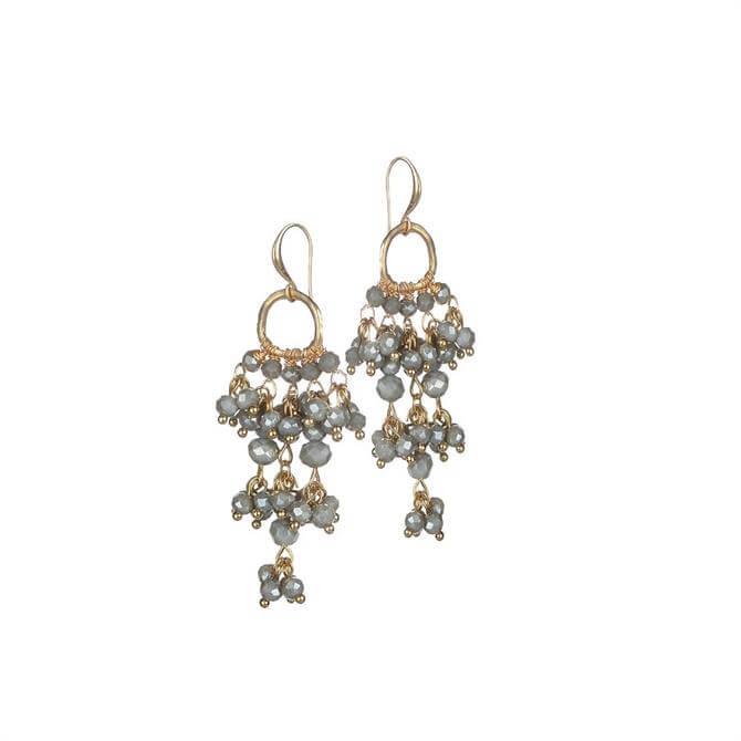 Hot Tomato Grey Crystal Cluster Chandelier Earrings