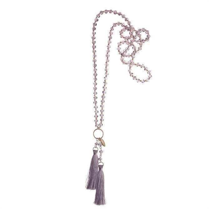 Hot Tomato Lilac Facetted Glass Beads & Tassel Necklace