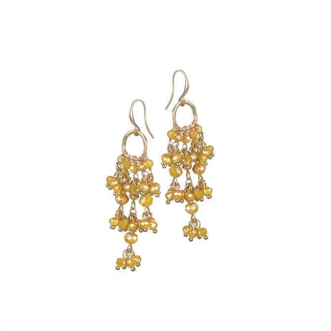 Hot Tomato Mustard Crystal Cluster Chandelier Earrings