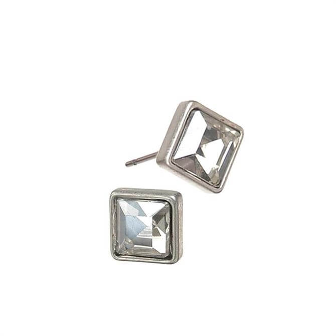 Hot Tomato Silver Crystal Square Stud Earrings