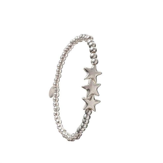 Hot Tomato Triptych of Silver Stars Bracelet