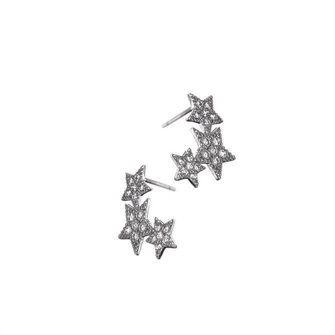 Hot Tomato Triptych Silver Stars Stud Earrings