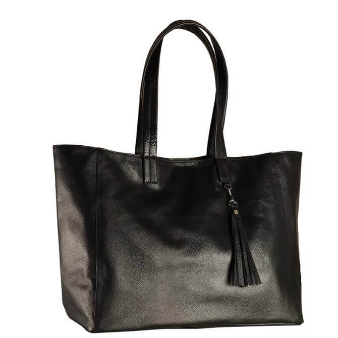 Hill & How Olivia Black Leather Tote Bag