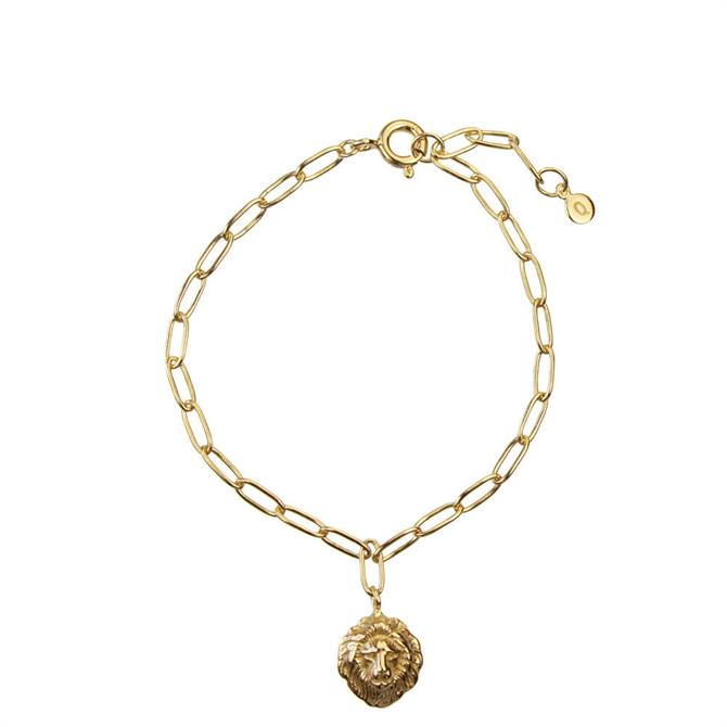 Hultquist Gold Plated Lions Head Bracelet