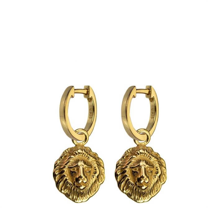 Hultquist Gold Plated Sterling Silver Lions Head Earrings