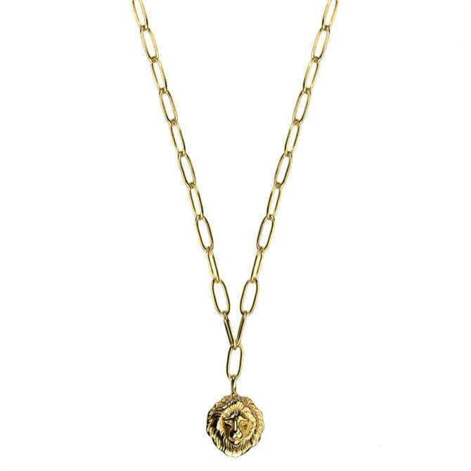 Hultquist Gold Plated Sterling Silver Lions Head Necklace