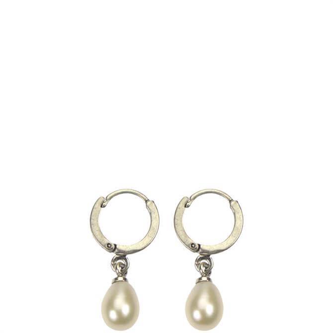 Hultquist Freshwater Pearl Silver Hoop Earrings