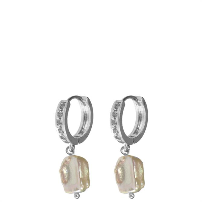 Hultquist Crystal Freshwater Pearl Hoop Earrings