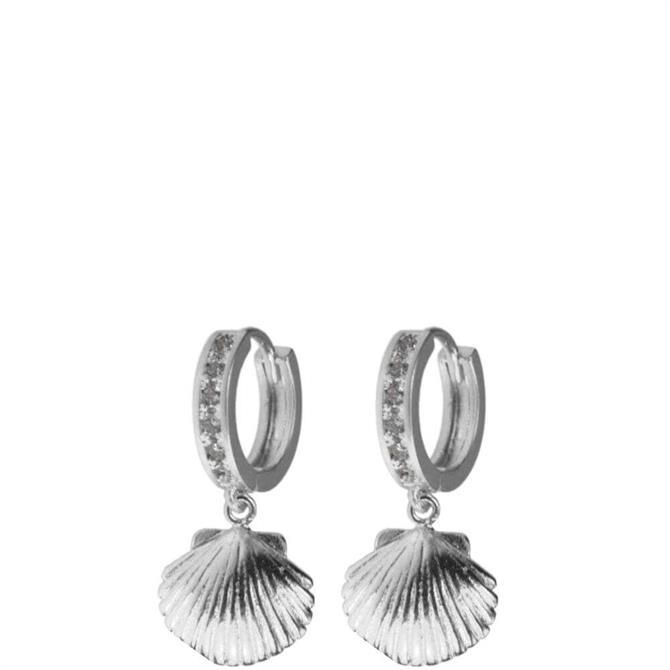 Hultquist Crystal Shell Hoop Earrings