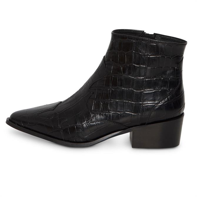 Ichi Croc Leather Western Ankle Boots