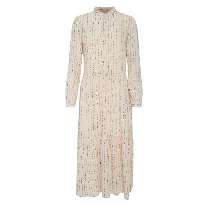 Ichi Basia Mini Print Midi Dress