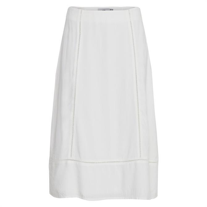 Ichi Embroidered Detail Midi Skirt