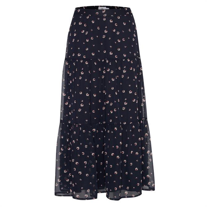 Ichi Floral Semi-Sheer Midi Skirt