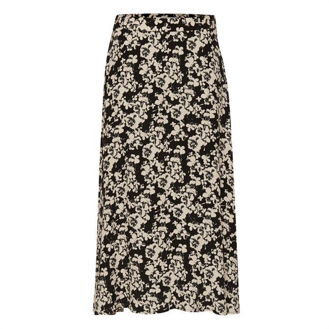 Ichi Ihanke Floral Print Midi Skirt