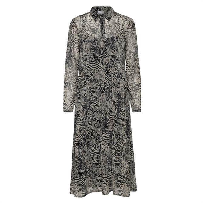 Ichi Ihassip Animal Print Midi Shirt Dress