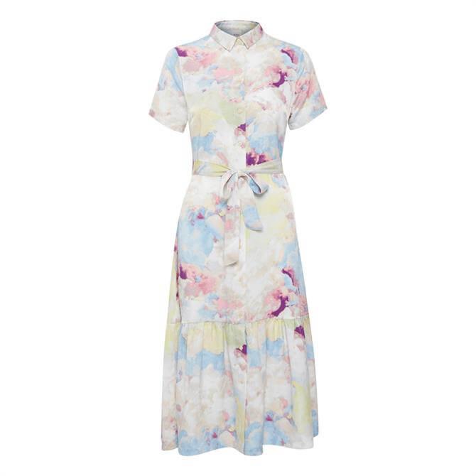 Ichi Ihcloudy Print Short Sleeved Shirt Dress