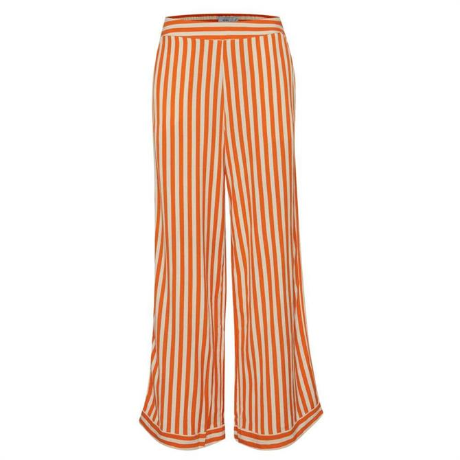 Ichi Striped Wide Leg Trousers
