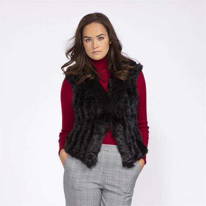 Jayley Faux Suede and Faux Fur Knitted Short Gilet