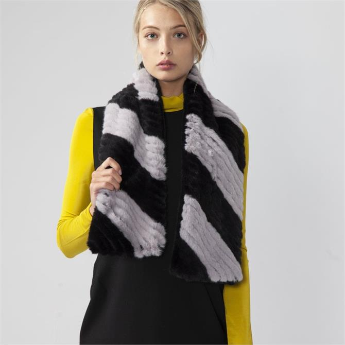 Jayley Faux Fur Knitted Striped Scarf