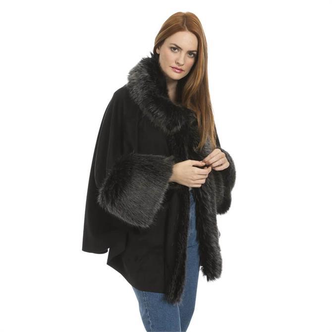 Jayley Faux Fur Faux Suede Cape Coat