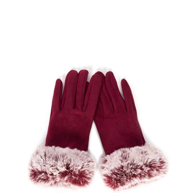 Jayley Faux Suede with a Faux Fur Trim Gloves