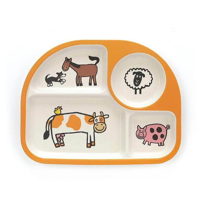 Jellycat Farm Tails Bamboo Divided Baby Dining Plate