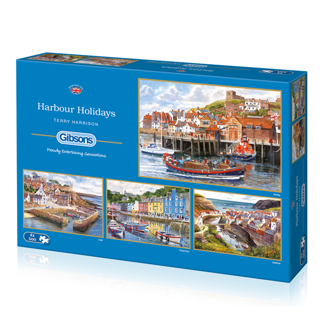 Gibsons Harbour Holidays 4 x 500 Piece Jigsaw Puzzle