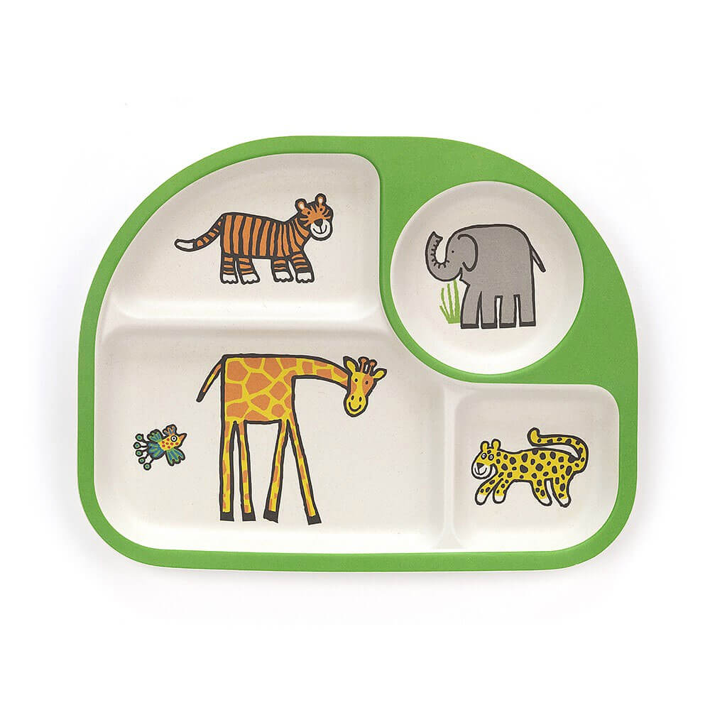 An image of Jellycat Jungly Tails Bamboo Divided Plate