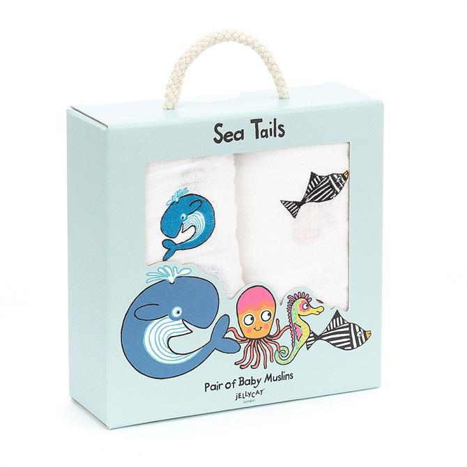 Jellycat Sea Tails Pair of Baby Muslins