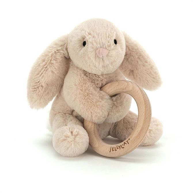 Jellycat Shooshu Bunny Wooden Ring Toy