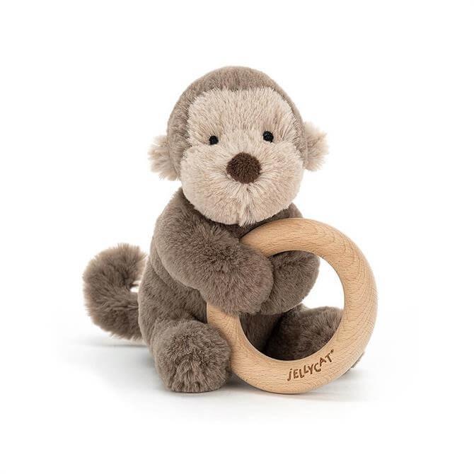 Jellycat Shooshu Monkey Wooden Ring Toy