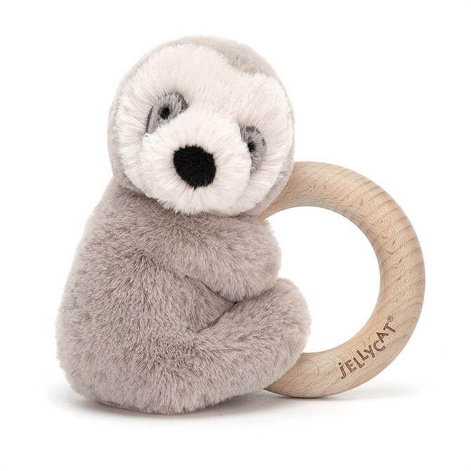 Jellycat Shooshu Sloth Wooden Toy Ring