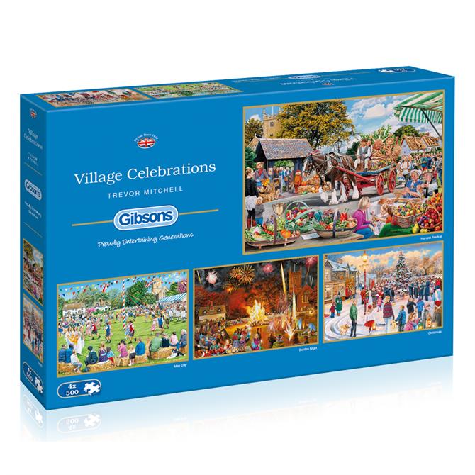 Gibsons Village Celebrations 4 x 500 Piece Jigsaw Puzzle