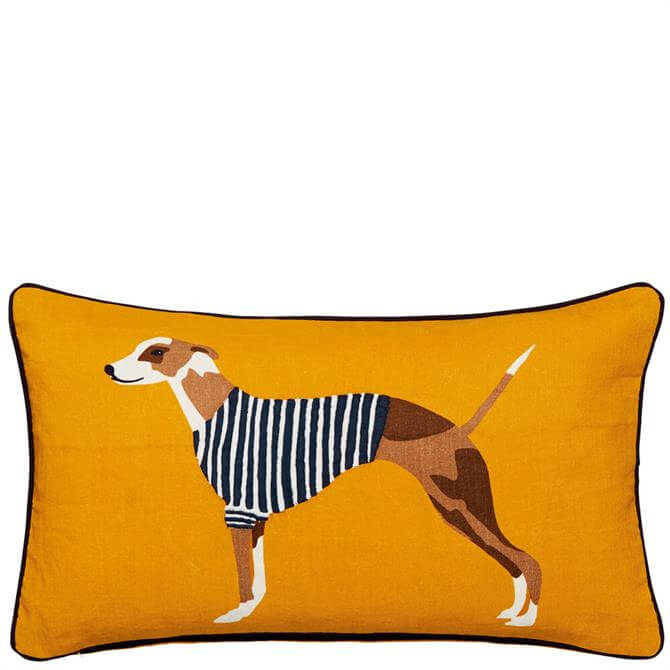 Joules Harbour Dogs Antique Gold Cushion