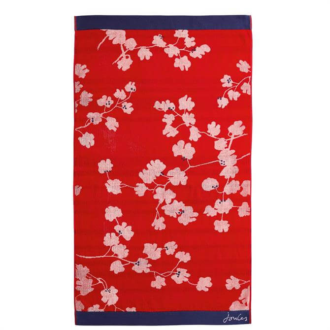 Joules Penzance Floral Red Towel