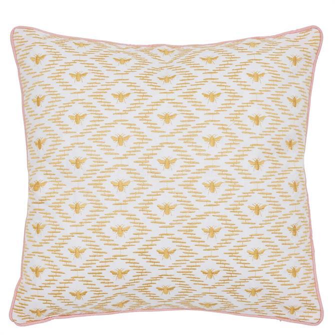 Joules Kelmarsh Bee Geo Gold Cushion