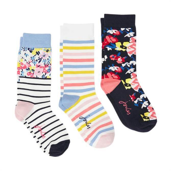 Joules Brilliant Bamboo Printed 3-Pack Socks