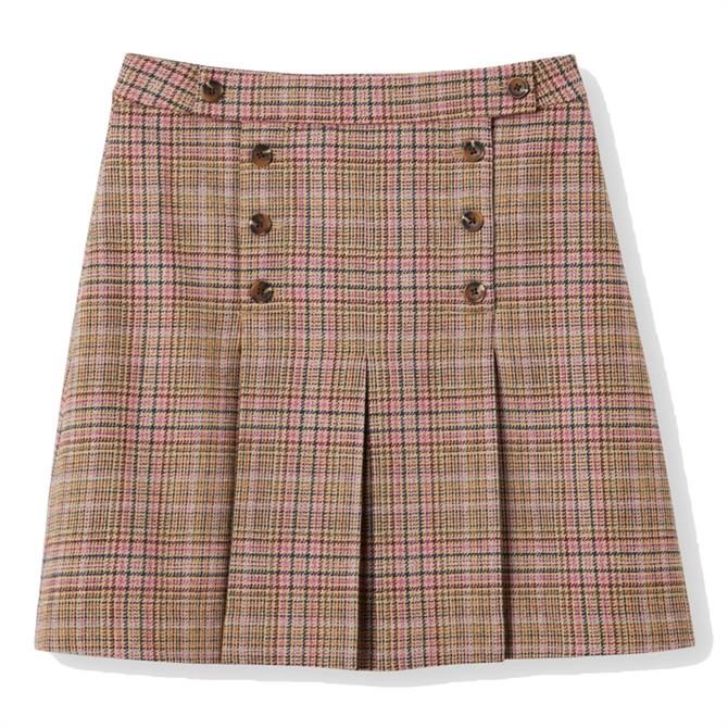 Joules Haddie Check Button Front Tweed Skirt