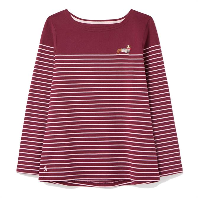Joules Harbour Stripe & Embroidery Long Sleeved Jersey Top