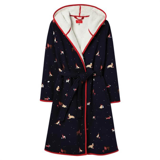 Joules Ida Christmas Dogs Jersey Fleece Lined Dressing Gown