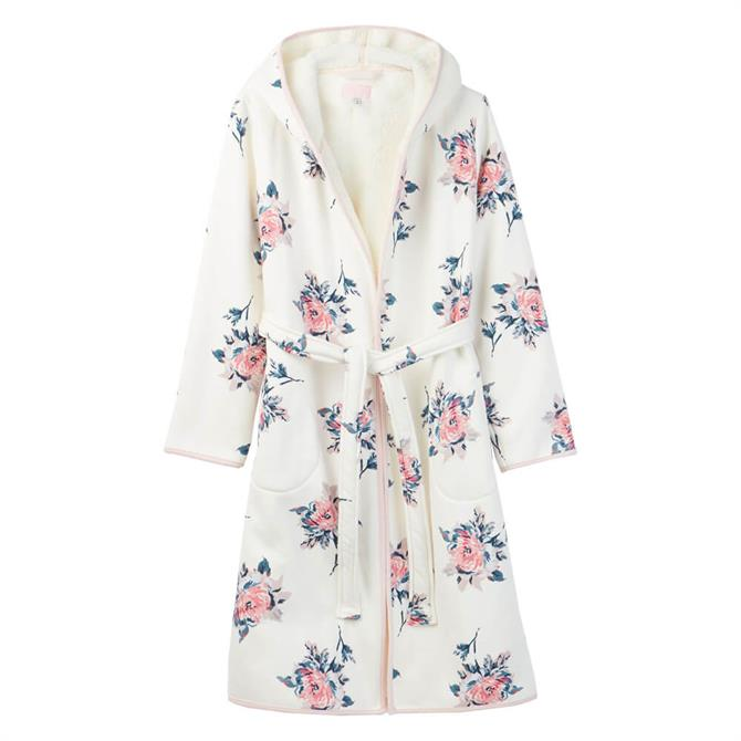 Joules Ida Cream Floral Jersey Fleece Lined Dressing Gown