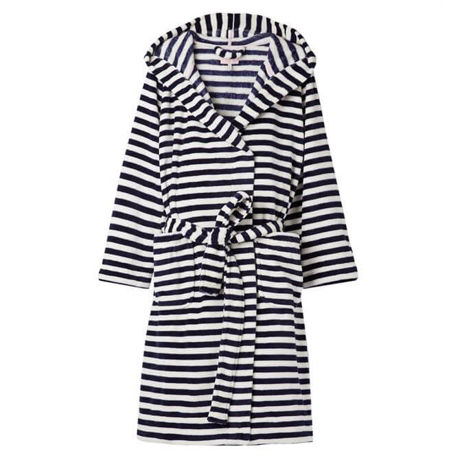 Joules Rita French Navy Stripe Fluffy Dressing Gown