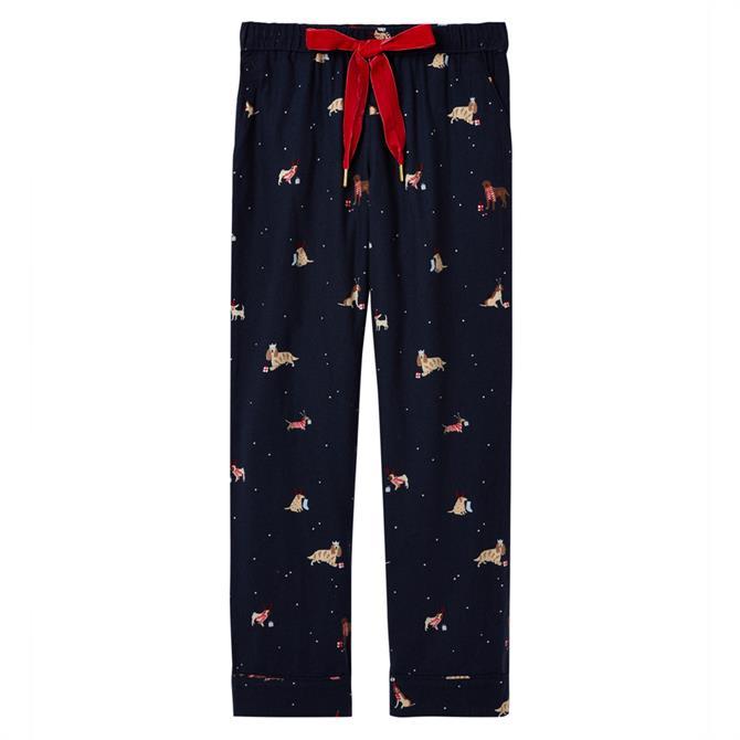 Joules Snooze Christmas Dogs Woven Pyjama Bottoms