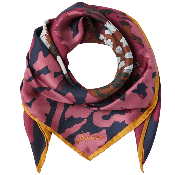 Joules Bloomfield Hand-Painted Print Square Silk Scarf