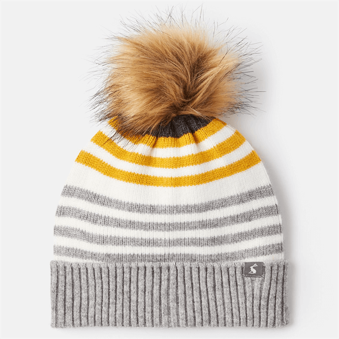 Joules Chillaway Knitted Striped Bobble Hat