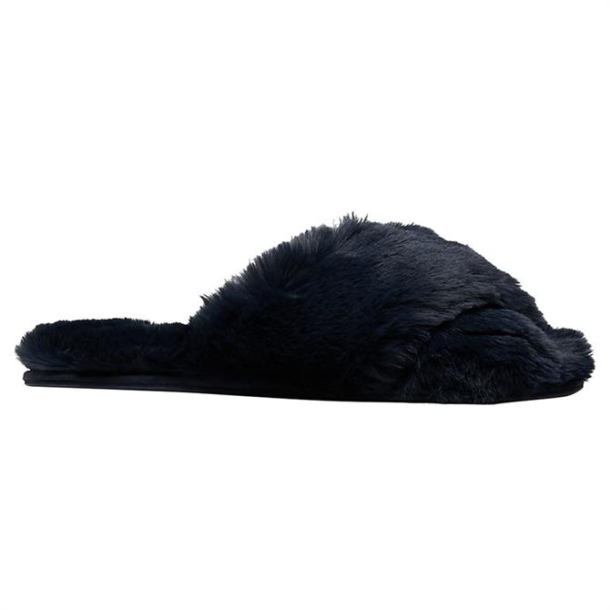 Joules Faux Fur Navy Slippers