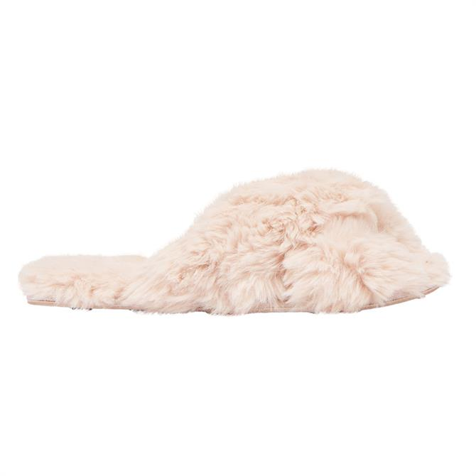 Joules Faux Fur Pink Slippers
